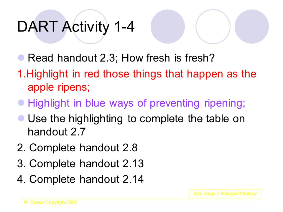Key Stage 3 National Strategy © Crown Copyright 2002 DART Activity 1-4 Read handout 2.3; How fresh is fresh? 1.Highlight in red those things that happ