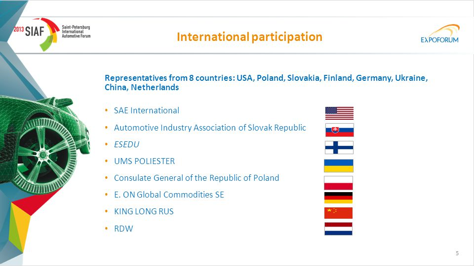 Representatives from 8 countries: USA, Poland, Slovakia, Finland, Germany, Ukraine, China, Netherlands SAE International Automotive Industry Association of Slovak Republic ESEDU UMS POLIESTER Consulate General of the Republic of Poland E.