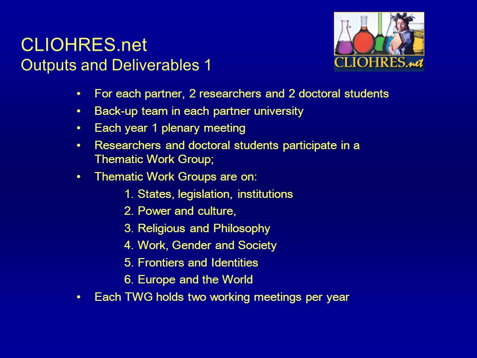 CLIOHRES.net Outputs and Deliverables 1 For each partner, 2 researchers and 2 doctoral students Back-up team in each partner university Each year 1 pl