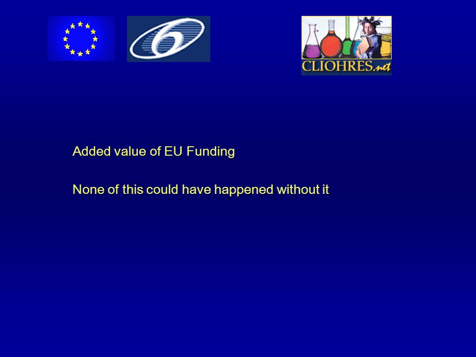Added value of EU Funding None of this could have happened without it