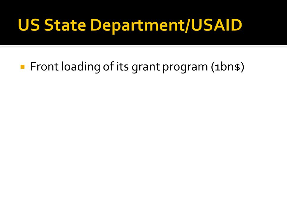  Front loading of its grant program (1bn$)