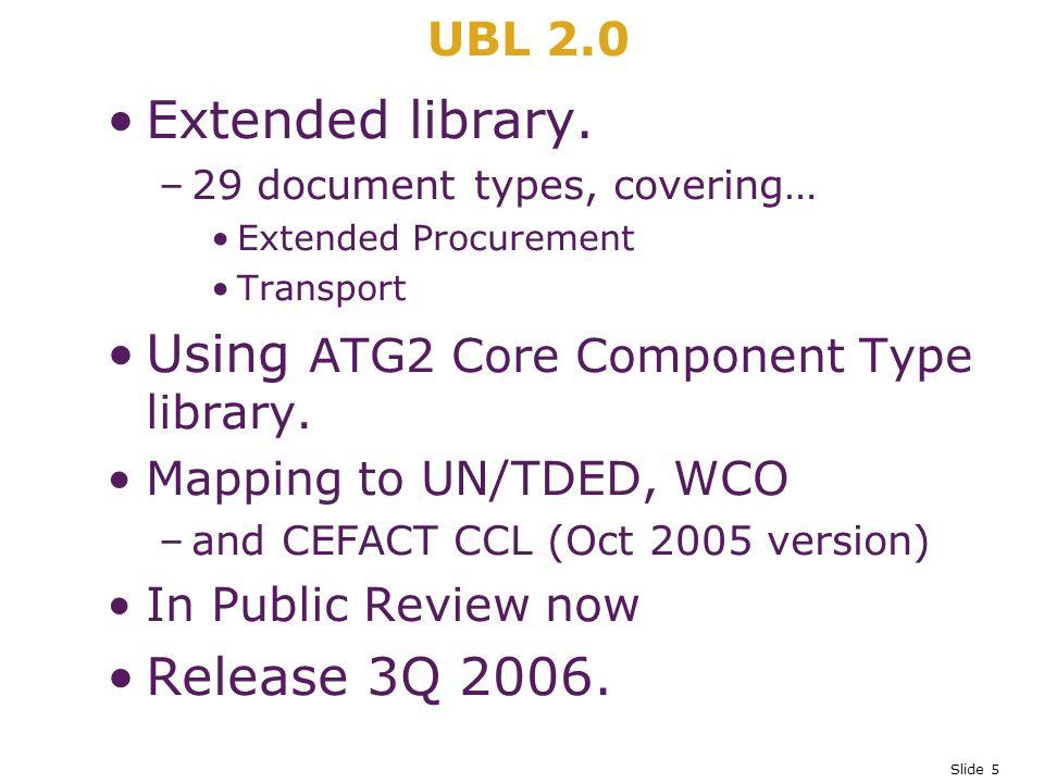 Slide 5 UBL 2.0 Extended library.