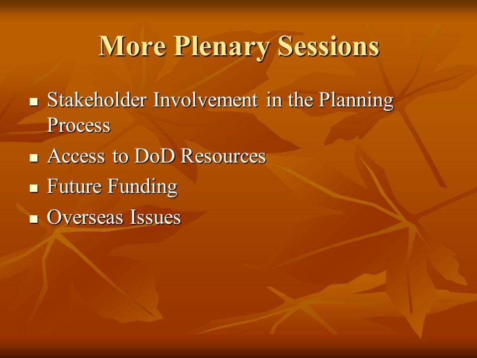 More Plenary Sessions Stakeholder Involvement in the Planning Process Stakeholder Involvement in the Planning Process Access to DoD Resources Access to DoD Resources Future Funding Future Funding Overseas Issues Overseas Issues