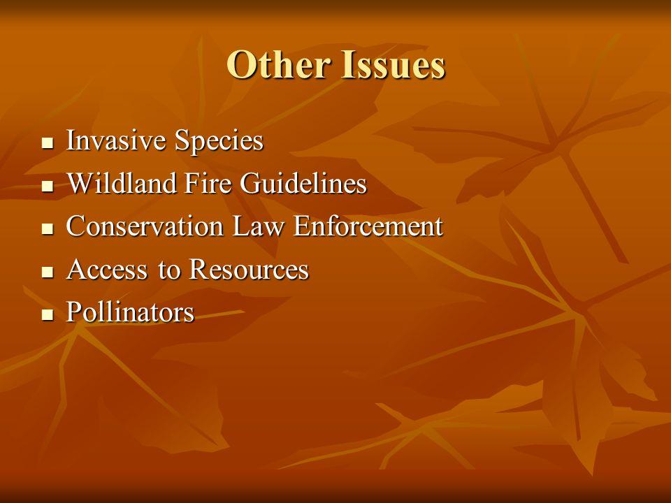 Other Issues Invasive Species Invasive Species Wildland Fire Guidelines Wildland Fire Guidelines Conservation Law Enforcement Conservation Law Enforcement Access to Resources Access to Resources Pollinators Pollinators