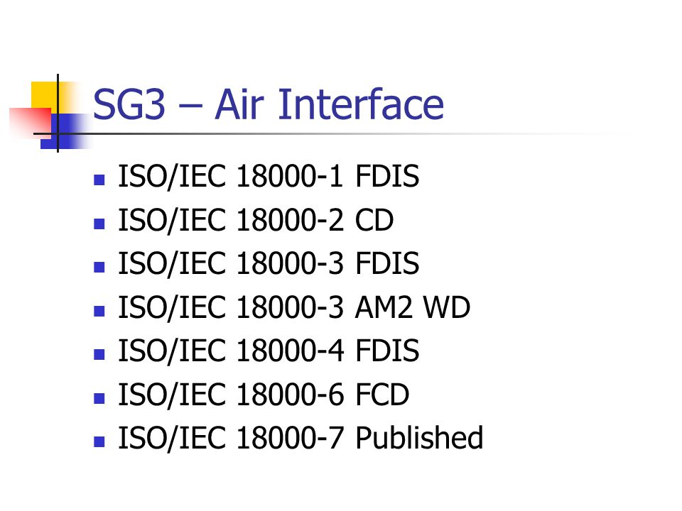 SG5 – Implementation Guidelines TR 24729-1 Part 1: RFID- enabled labels and packaging supporting IEO/IEC18000-6C, Published TR 24729-2 Part 2: Recycling and RF tags, Published TR 24729-3 Part 3: Implementation and operation of UHF RFID Interrogator systems in logistics applications, PDTR ballot TR 24729-4 Part 4: RFID guideline on tag data security, DTR ballot