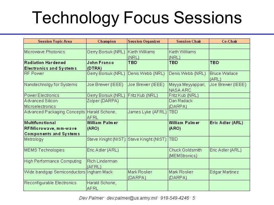 Dev Palmer · dev.palmer@us.army.mil · 919-549-4246 · 5 Technology Focus Sessions