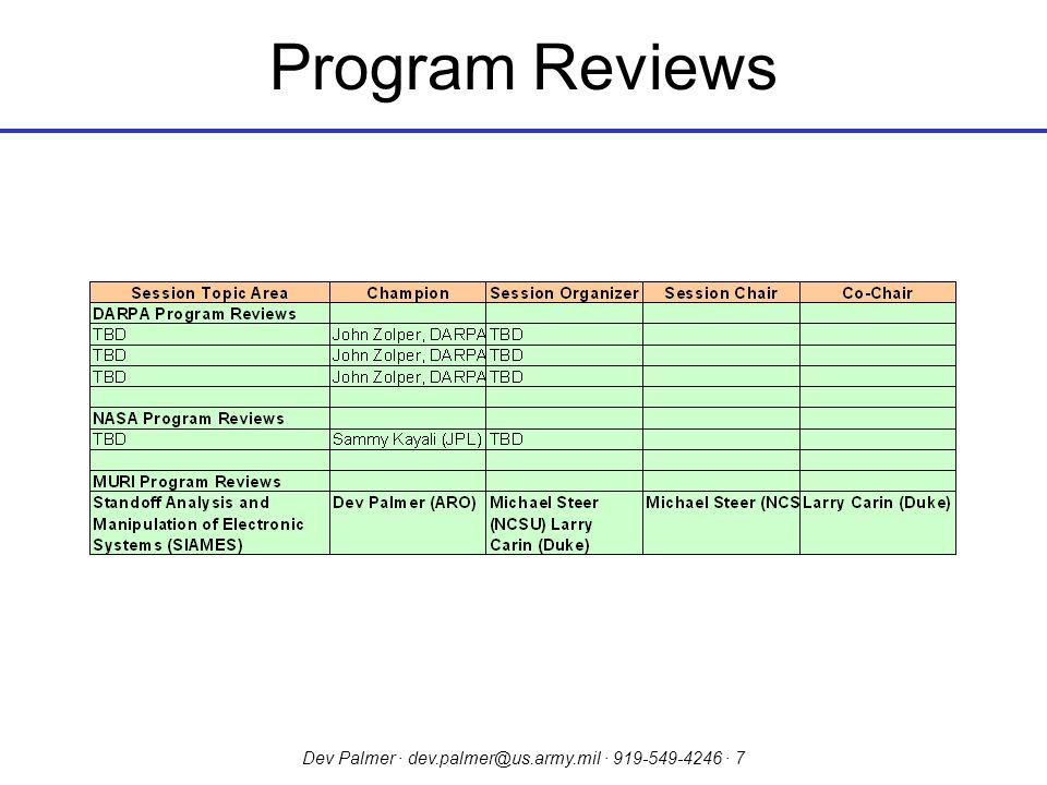 Dev Palmer · dev.palmer@us.army.mil · 919-549-4246 · 7 Program Reviews