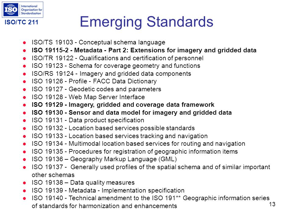ISO/TC 211 12 Draft International Standards ISO/DIS 19104 Geographic information — Terminology ISO/DIS 19106 Geographic information — Profiles ISO/DIS