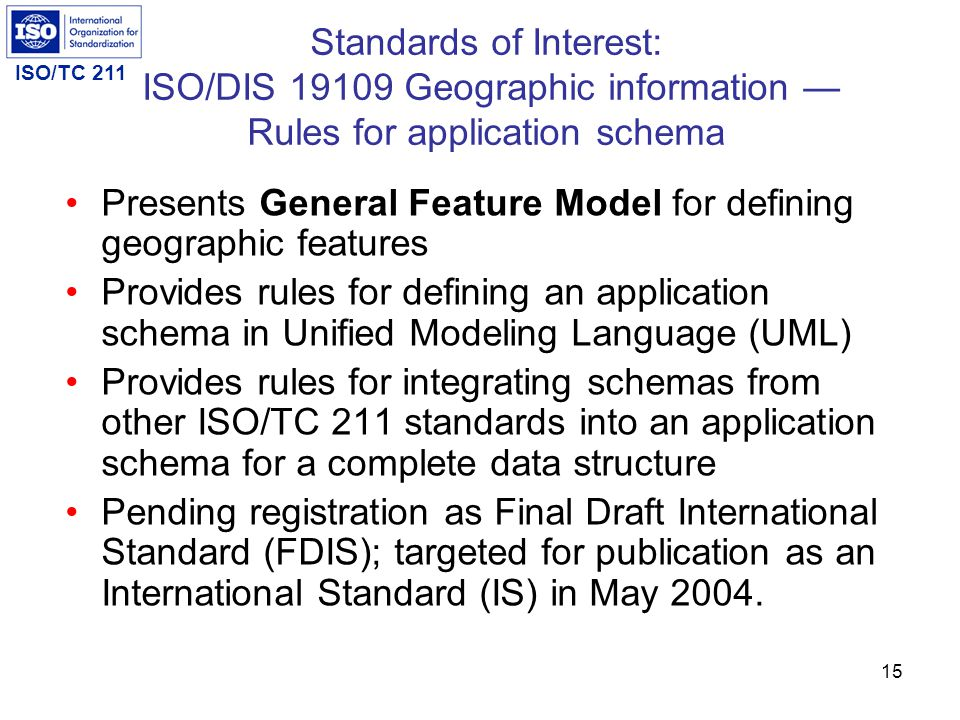 ISO/TC 211 14 Standards of Interest ISO/DIS 19109 Geographic information — Rules for application schema ISO 19123 Geographic information — Schema for