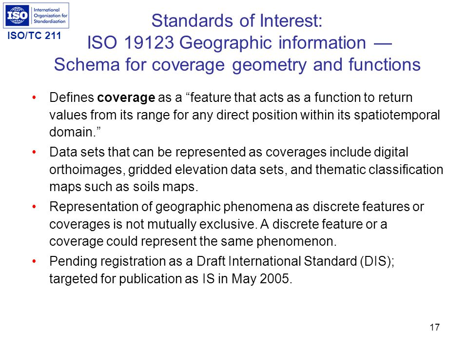 ISO/TC 211 16 Extract of General Feature Model Standards of Interest: ISO/DIS 19109 Geographic information — Rules for application schema