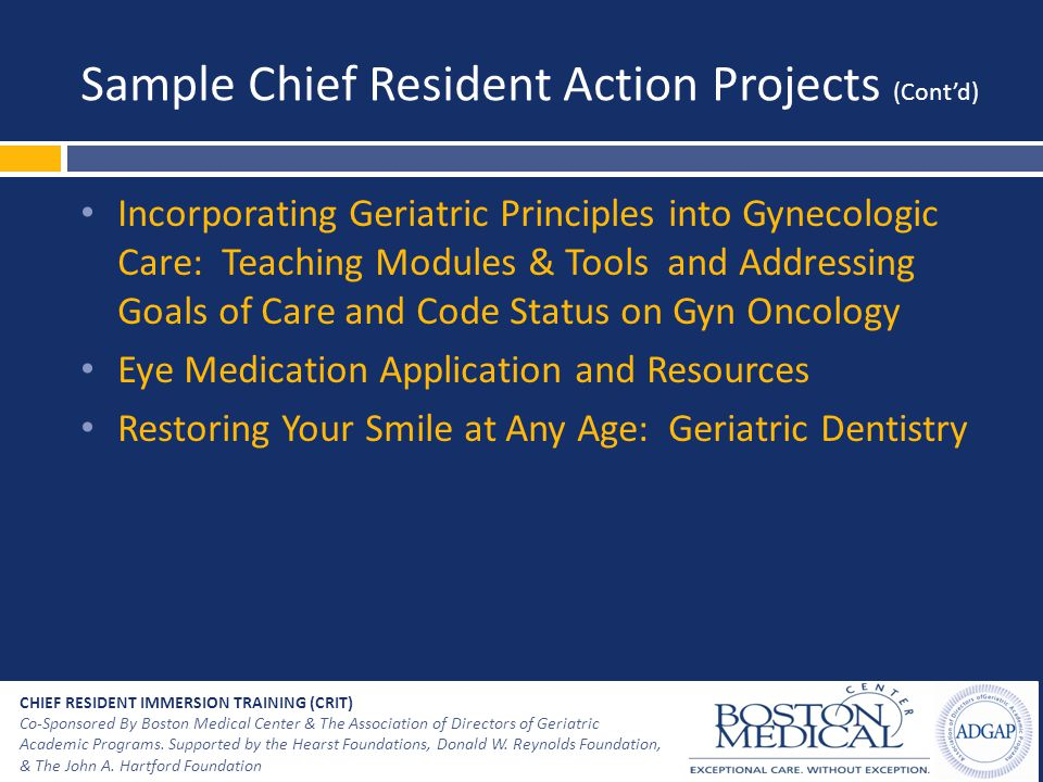 Sample Chief Resident Action Projects (Cont'd) Incorporating Geriatric Principles into Gynecologic Care: Teaching Modules & Tools and Addressing Goals