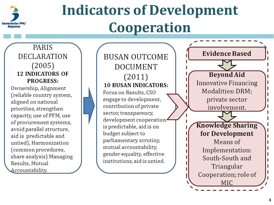 Indicators of Development Cooperation 4 PARIS DECLARATION (2005) 12 INDICATORS OF PROGRESS: Ownership, Alignment (reliable country system, aligned on national priorities, strengthen capacity, use of PFM, use of procurement systems, avoid parallel structure, aid is predictable and untied), Harmonization (common procedures, share analysis) Managing Results, Mutual Accountability.