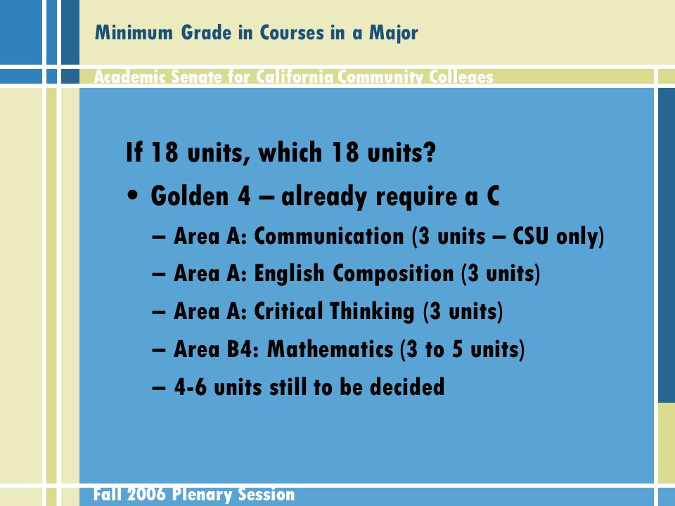 Academic Senate for California Community Colleges Fall 2006 Plenary Session Minimum Grade in Courses in a Major If 18 units, which 18 units.