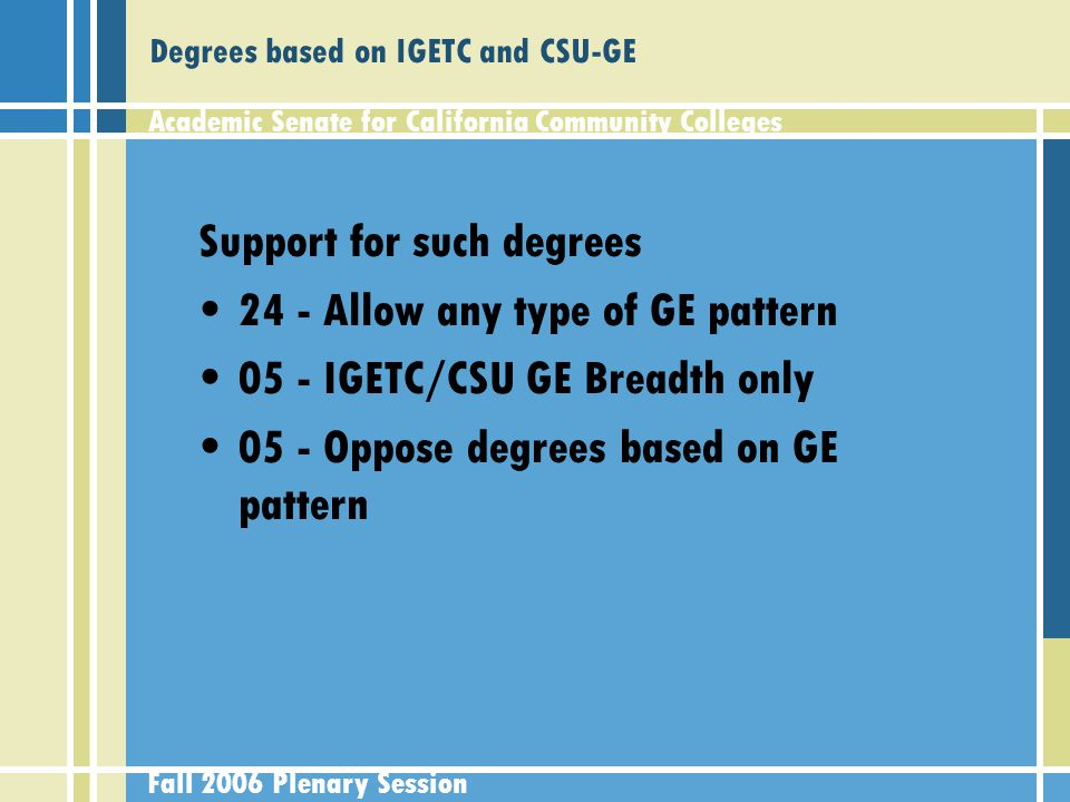 Academic Senate for California Community Colleges Fall 2006 Plenary Session Degrees based on IGETC and CSU-GE Support for such degrees 24 - Allow any type of GE pattern 05 - IGETC/CSU GE Breadth only 05 - Oppose degrees based on GE pattern