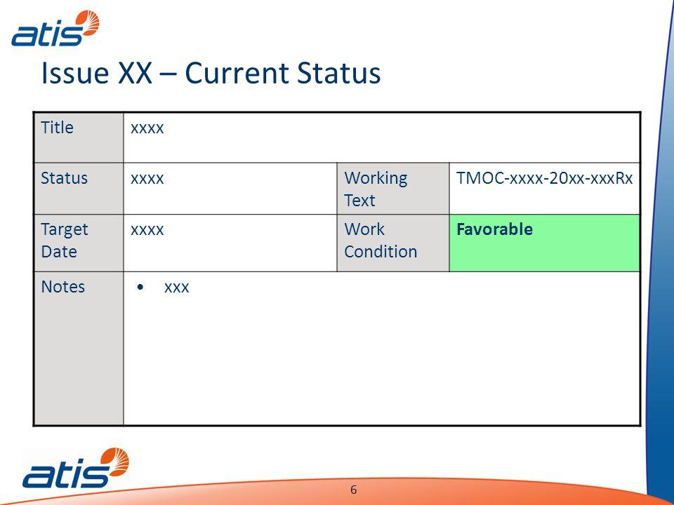 Presentation Name Date 6 Issue XX – Current Status Titlexxxx StatusxxxxWorking Text TMOC-xxxx-20xx-xxxRx Target Date xxxxWork Condition Favorable Notesxxx