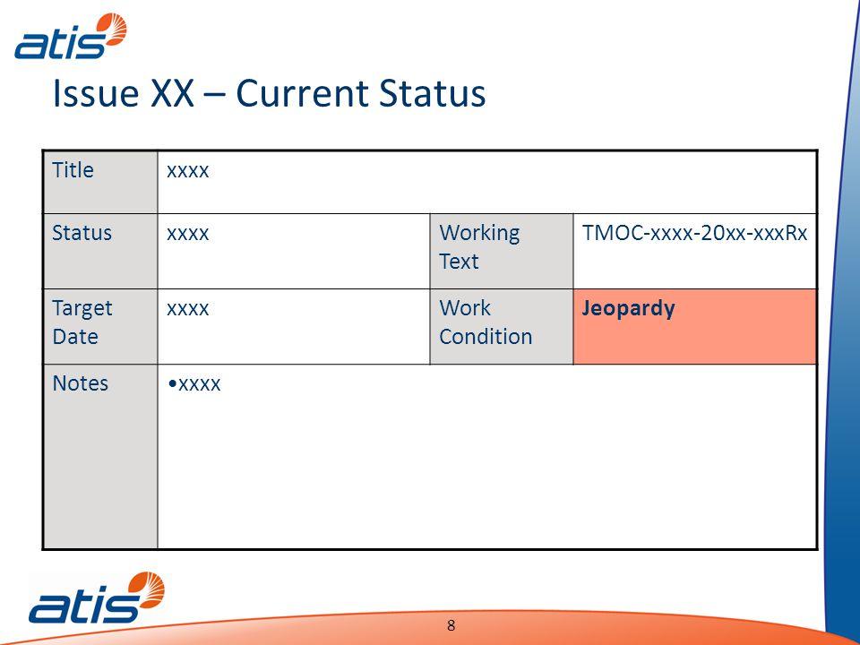 Presentation Name Date 8 Issue XX – Current Status Titlexxxx StatusxxxxWorking Text TMOC-xxxx-20xx-xxxRx Target Date xxxxWork Condition Jeopardy Notesxxxx