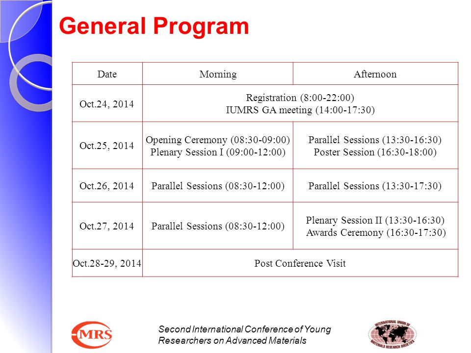 Second International Conference of Young Researchers on Advanced Materials General Program DateMorningAfternoon Oct.24, 2014 Registration (8:00-22:00)