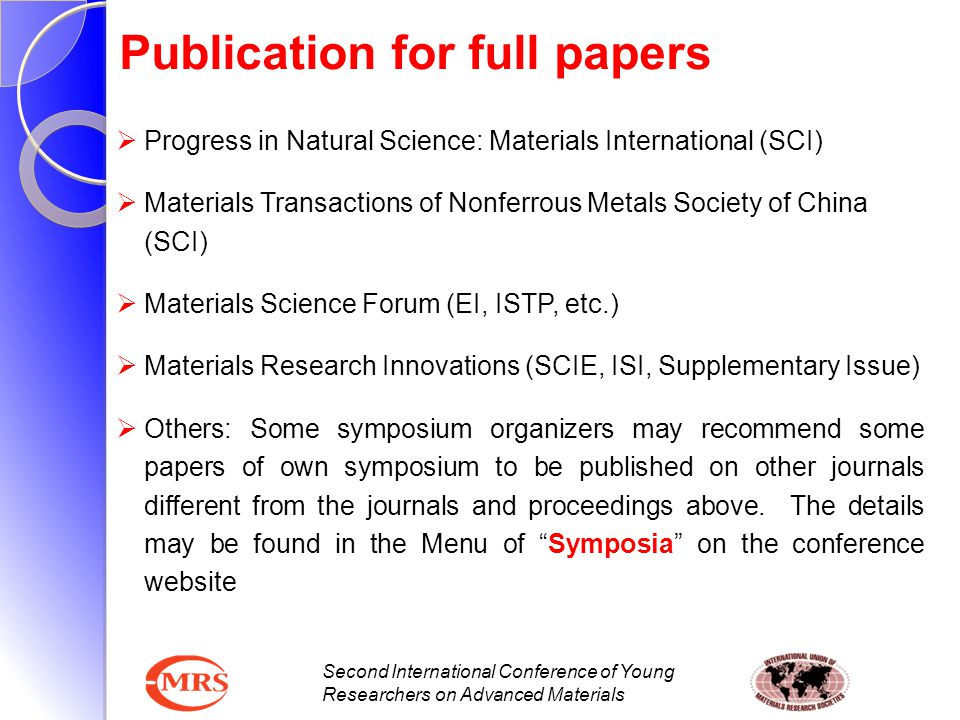 Second International Conference of Young Researchers on Advanced Materials Publication for full papers  Progress in Natural Science: Materials Intern