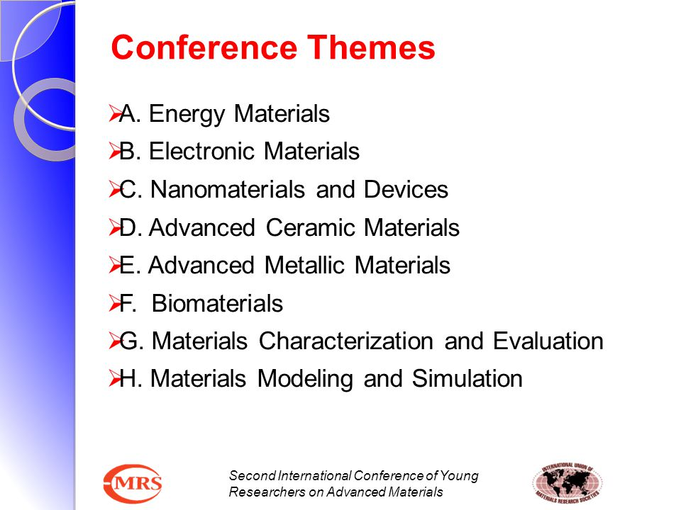 Second International Conference of Young Researchers on Advanced Materials Symposia A.