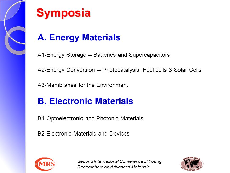 Second International Conference of Young Researchers on Advanced Materials Symposia A. Energy Materials A1-Energy Storage -- Batteries and Supercapaci