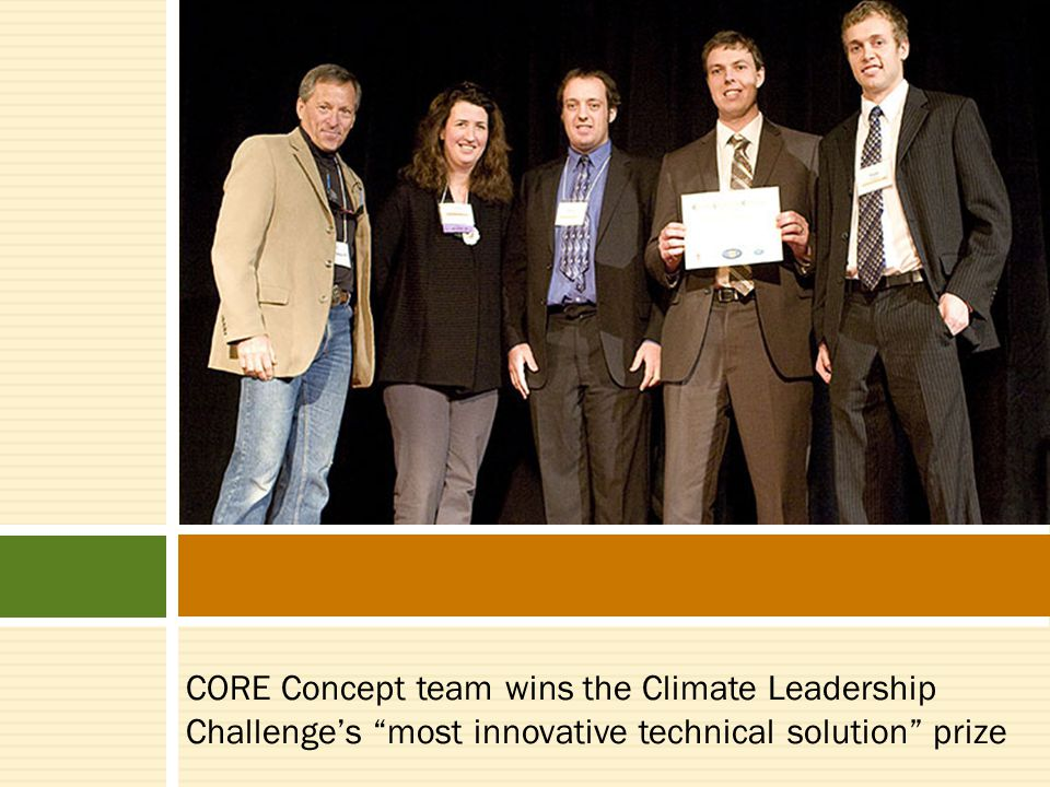 CORE Concept team wins the Climate Leadership Challenge's most innovative technical solution prize
