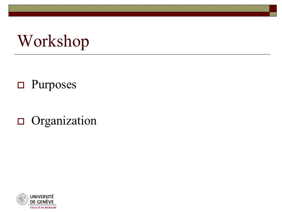 Workshop  Purposes  Organization