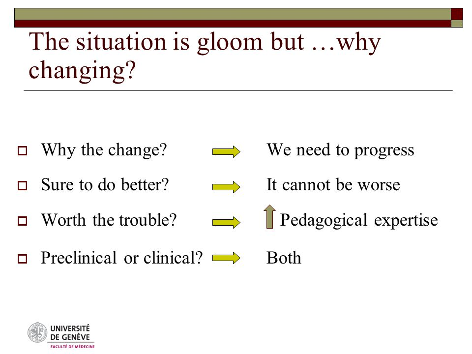 The situation is gloom but …why changing.  Why the change.