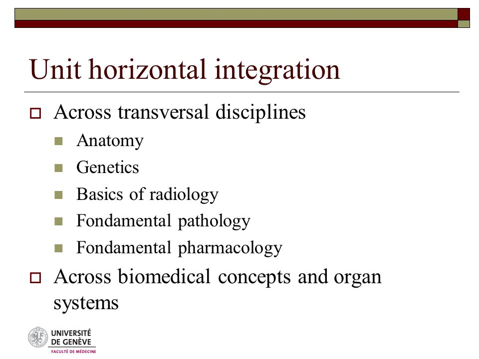 Unit horizontal integration  Across transversal disciplines Anatomy Genetics Basics of radiology Fondamental pathology Fondamental pharmacology  Across biomedical concepts and organ systems