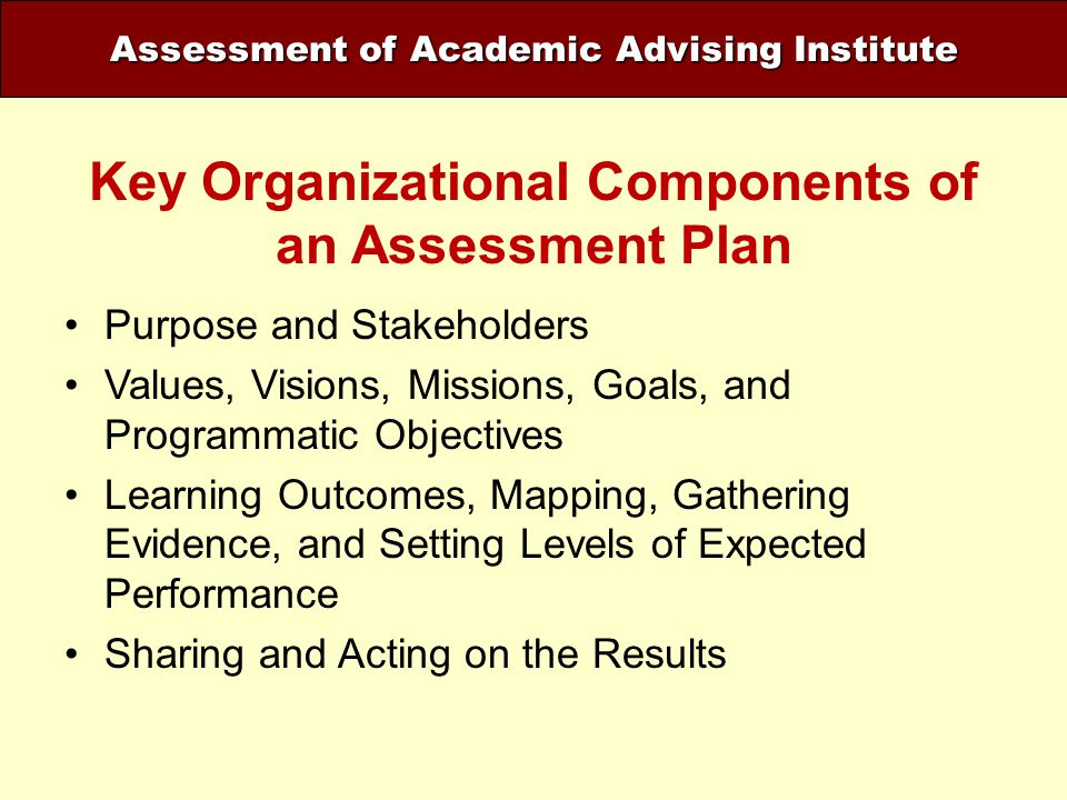 Assessment of Academic Advising Institute Key Organizational Components of an Assessment Plan Purpose and Stakeholders Values, Visions, Missions, Goal