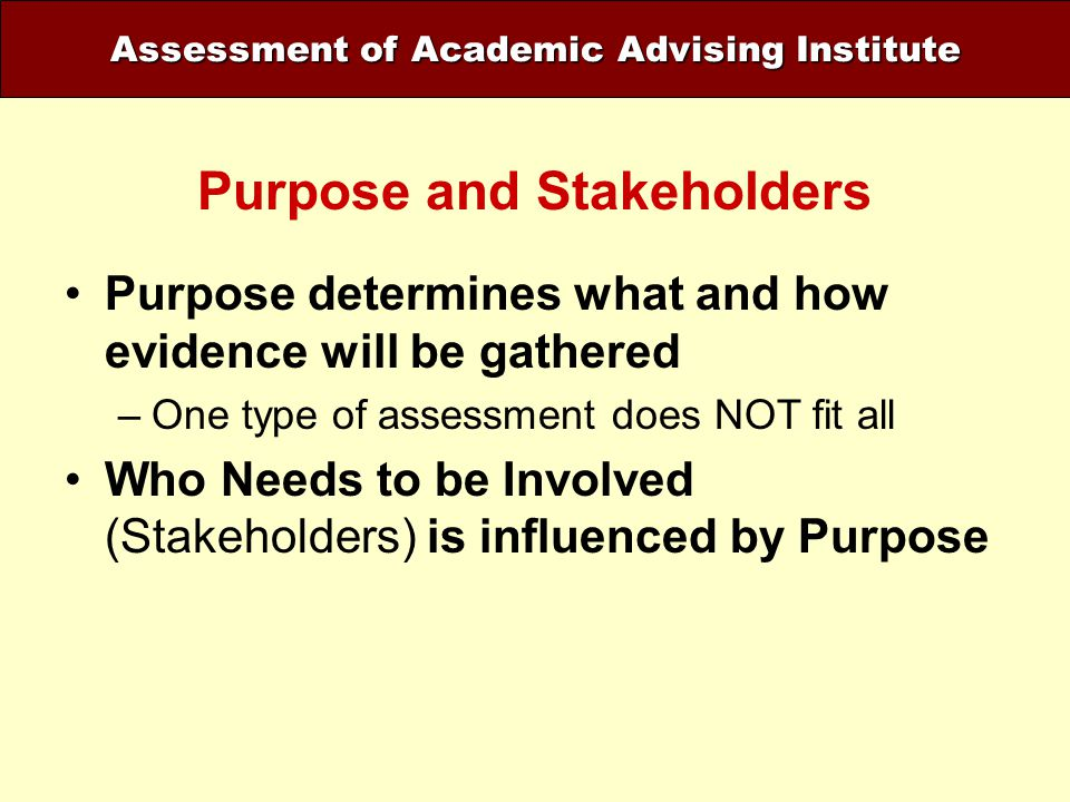 Assessment of Academic Advising Institute Purpose and Stakeholders Purpose determines what and how evidence will be gathered –One type of assessment d