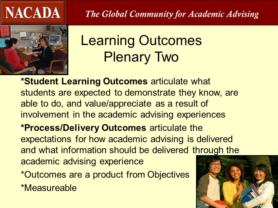Learning Outcomes Plenary Two *Student Learning Outcomes articulate what students are expected to demonstrate they know, are able to do, and value/app