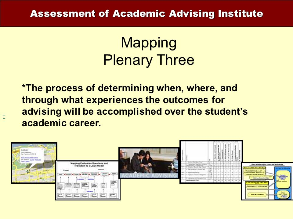 Assessment of Academic Advising Institute Mapping Plenary Three *The process of determining when, where, and through what experiences the outcomes for