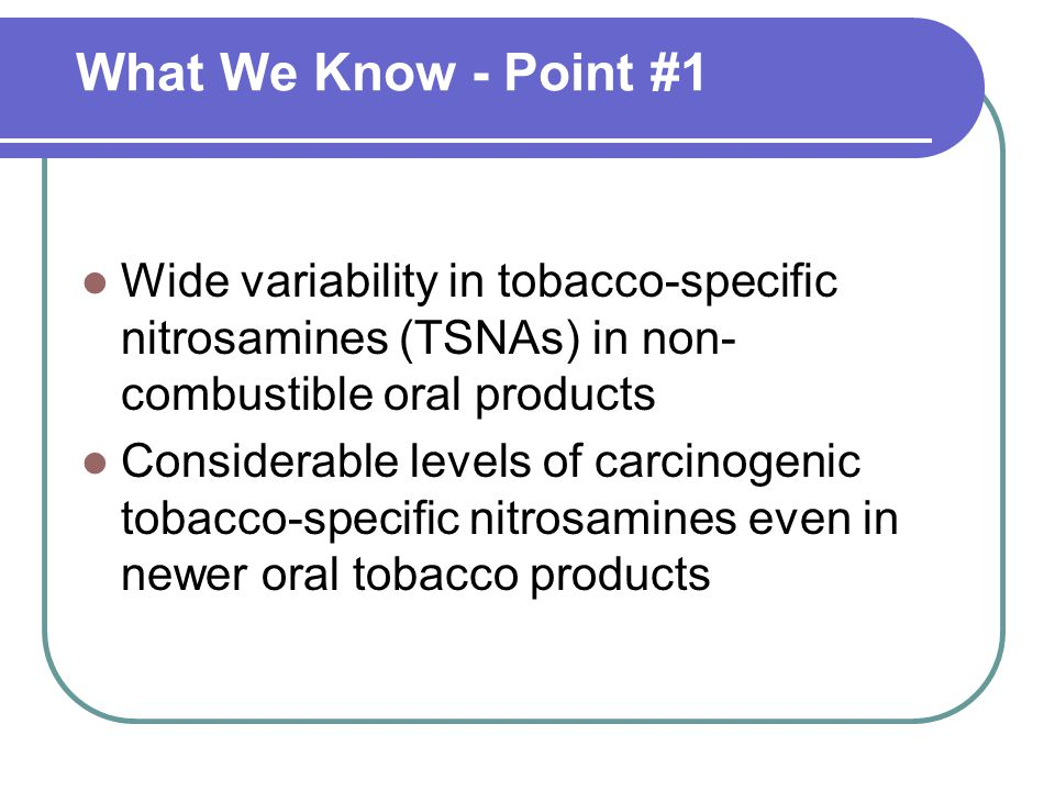 Tobacco-Specific Nitrosamines Across Products Productµg/g product (wet weight) NNNNNKNATNABTotal Copenhagen Snuff2.200.751.800.124.80 General Snus0.980.180.790.062.00 Camel Snus (frost)0.830.160.140.011.12 Taboka0.910.060.230.001.27 Revel0.620.030.320.020.99 Ariva0.020.040.120.010.19 Commit (lozenge, 2 mg nicotine) nd