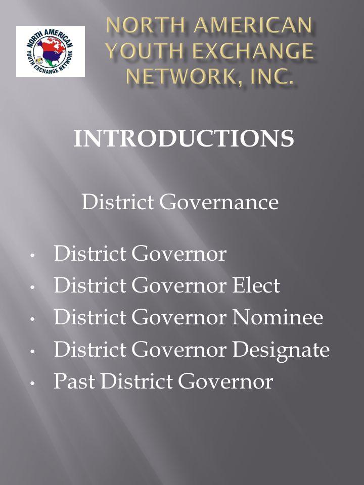 District Governance District Governor District Governor Elect District Governor Nominee District Governor Designate Past District Governor INTRODUCTIONS