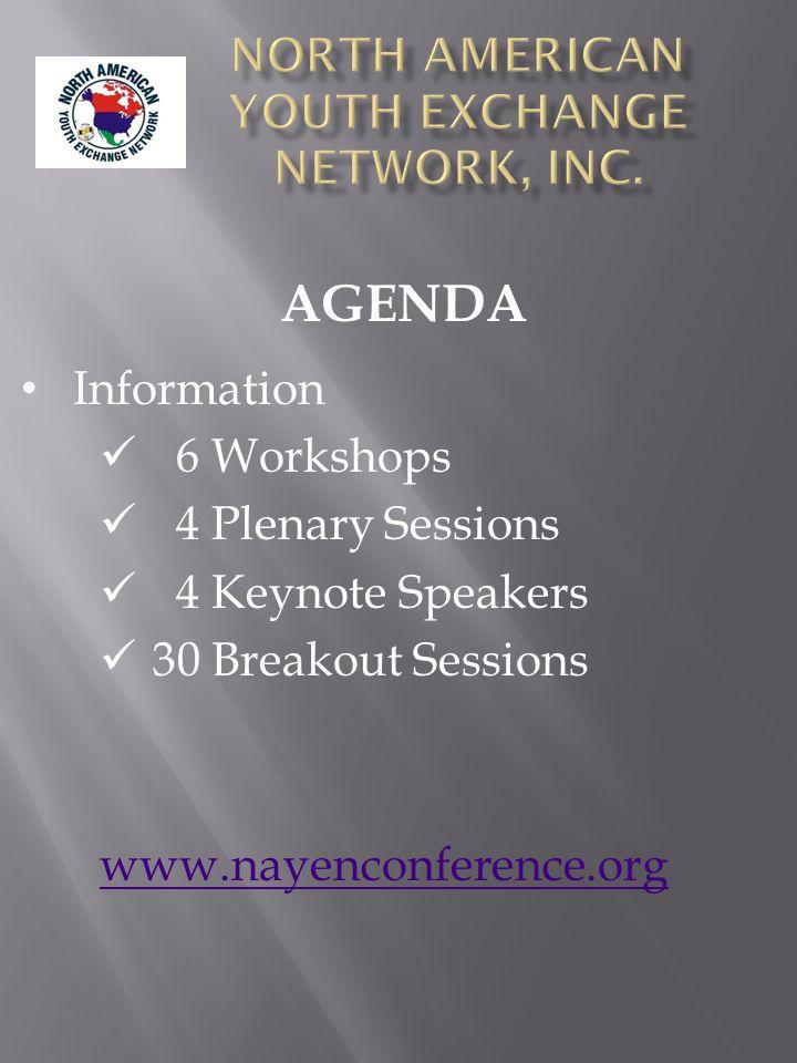 Information 6 Workshops 4 Plenary Sessions 4 Keynote Speakers 30 Breakout Sessions www.nayenconference.org AGENDA