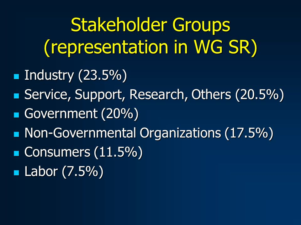 Stakeholder Groups (representation in WG SR) Industry (23.5%) Industry (23.5%) Service, Support, Research, Others (20.5%) Service, Support, Research, Others (20.5%) Government (20%) Government (20%) Non-Governmental Organizations (17.5%) Non-Governmental Organizations (17.5%) Consumers (11.5%) Consumers (11.5%) Labor (7.5%) Labor (7.5%)