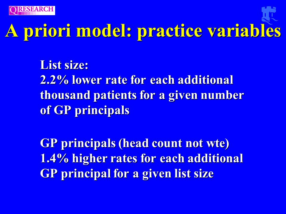List size: 2.2% lower rate for each additional thousand patients for a given number of GP principals GP principals (head count not wte) 1.4% higher rates for each additional GP principal for a given list size A priori model: practice variables