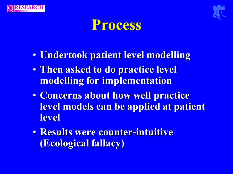 Process Undertook patient level modellingUndertook patient level modelling Then asked to do practice level modelling for implementationThen asked to do practice level modelling for implementation Concerns about how well practice level models can be applied at patient levelConcerns about how well practice level models can be applied at patient level Results were counter-intuitive (Ecological fallacy)Results were counter-intuitive (Ecological fallacy)