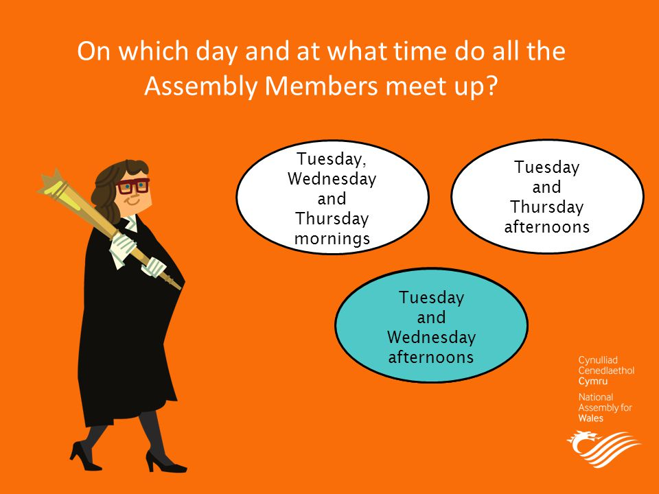 On which day and at what time do all the Assembly Members meet up.