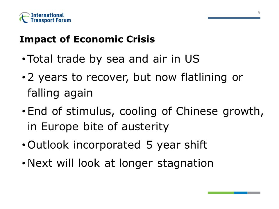 Impact of Economic Crisis Total trade by sea and air in US 2 years to recover, but now flatlining or falling again End of stimulus, cooling of Chinese growth, in Europe bite of austerity Outlook incorporated 5 year shift Next will look at longer stagnation 9