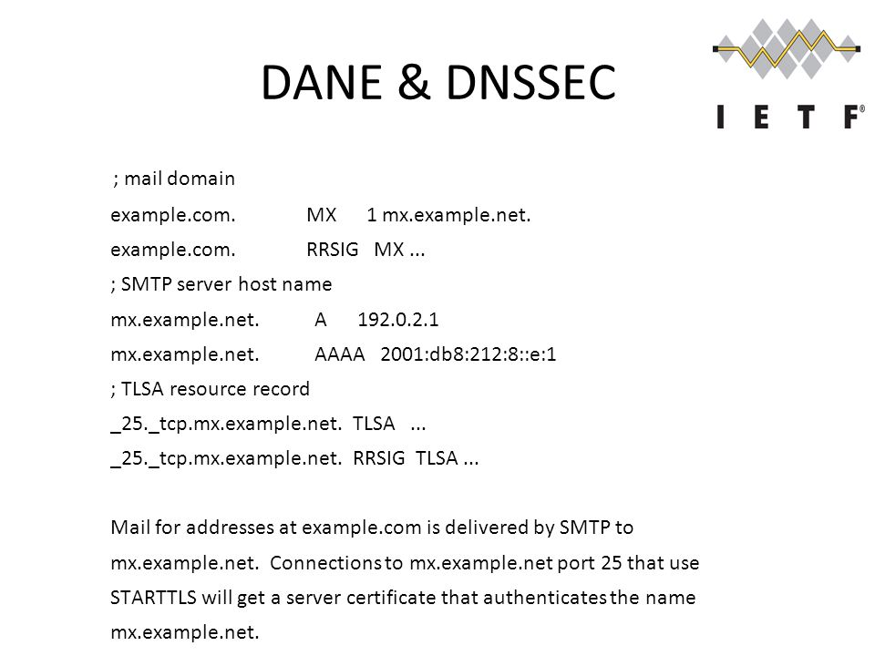 DANE & DNSSEC ; mail domain example.com. MX 1 mx.example.net.