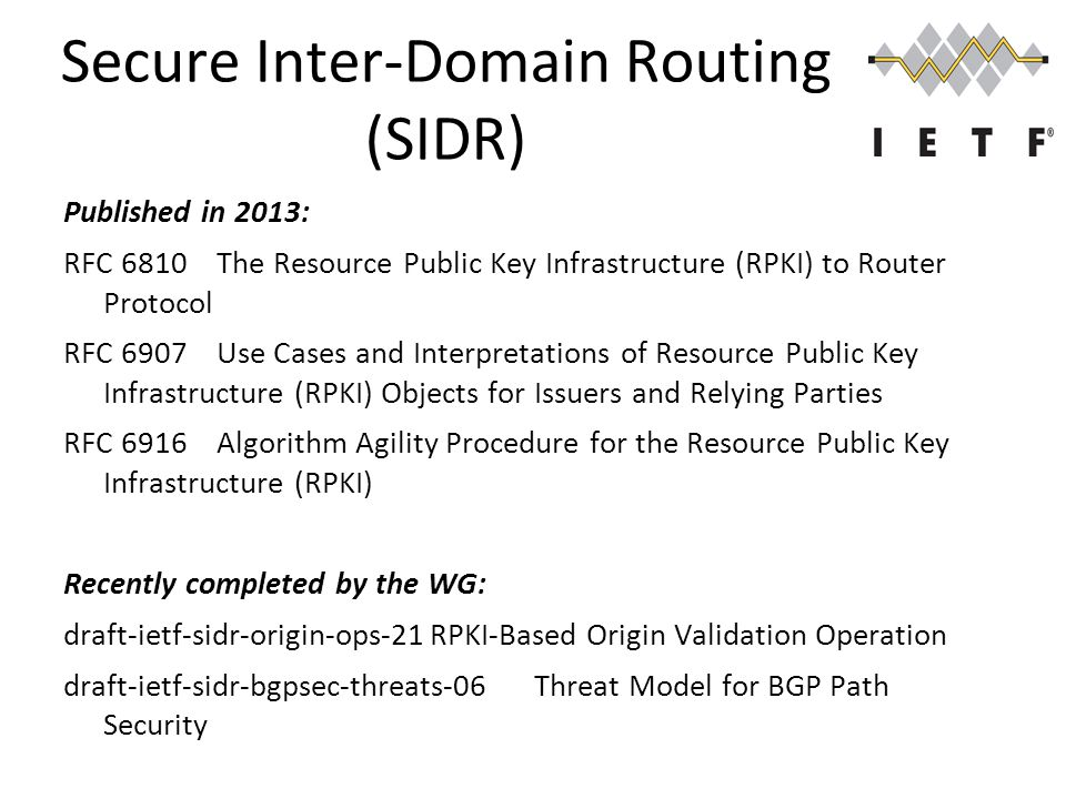 Secure Inter-Domain Routing (SIDR) Published in 2013: RFC 6810 The Resource Public Key Infrastructure (RPKI) to Router Protocol RFC 6907 Use Cases and Interpretations of Resource Public Key Infrastructure (RPKI) Objects for Issuers and Relying Parties RFC 6916 Algorithm Agility Procedure for the Resource Public Key Infrastructure (RPKI) Recently completed by the WG: draft-ietf-sidr-origin-ops-21RPKI-Based Origin Validation Operation draft-ietf-sidr-bgpsec-threats-06Threat Model for BGP Path Security