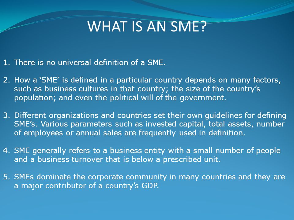 WHAT IS AN SME. 1.There is no universal definition of a SME.