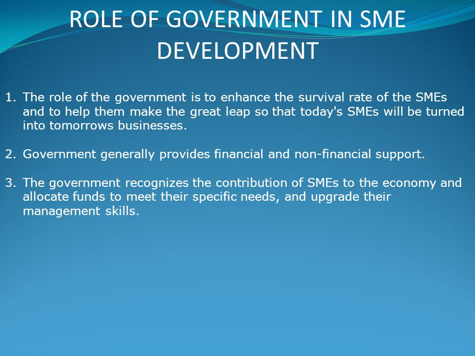 ROLE OF GOVERNMENT IN SME DEVELOPMENT 1.The role of the government is to enhance the survival rate of the SMEs and to help them make the great leap so that today s SMEs will be turned into tomorrows businesses.
