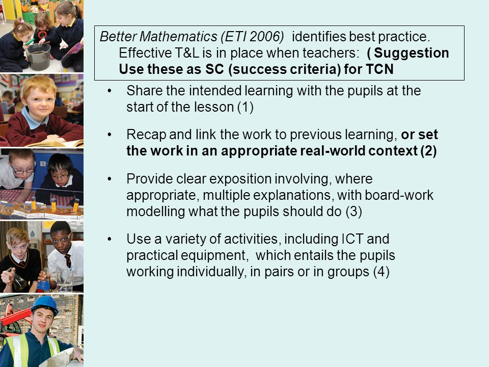 TCN proforma Focus of lesson: ------------ Quality Indicators: The pupils will be ------- well The pupils will be -------- accurately The pupils will be ------ Strengths (6) Suggested adjsts to learning (1) The pupils could be ---- Tear up after use