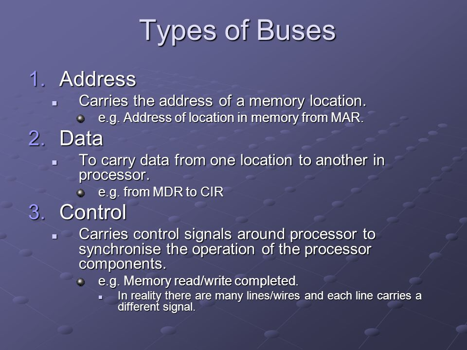 Types of Buses 1.Address Carries the address of a memory location. Carries the address of a memory location. e.g. Address of location in memory from M