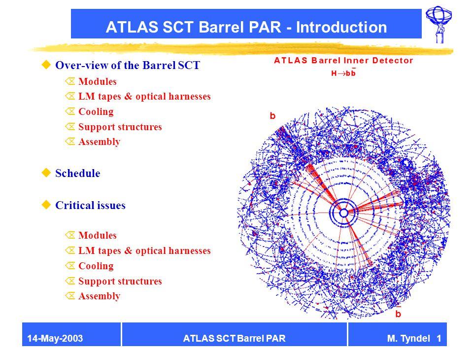 ATLAS SCT Barrel PARM. Tyndel 114-May-2003 ATLAS SCT Barrel PAR - Introduction uOver-view of the Barrel SCT Õ Modules Õ LM tapes & optical harnesses Õ