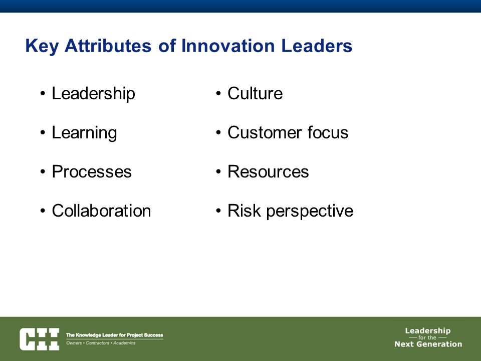 Key Attributes of Innovation Leaders Leadership Learning Processes Collaboration Culture Customer focus Resources Risk perspective