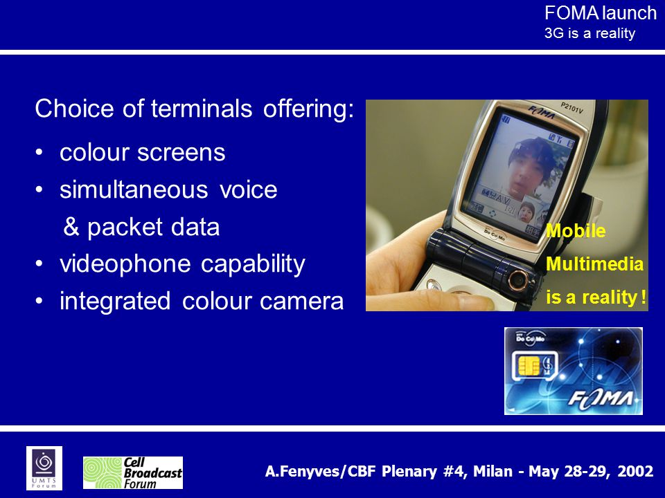 A.Fenyves/CBF Plenary #4, Milan - May 28-29, 2002 Choice of terminals offering: colour screens simultaneous voice & packet data videophone capability