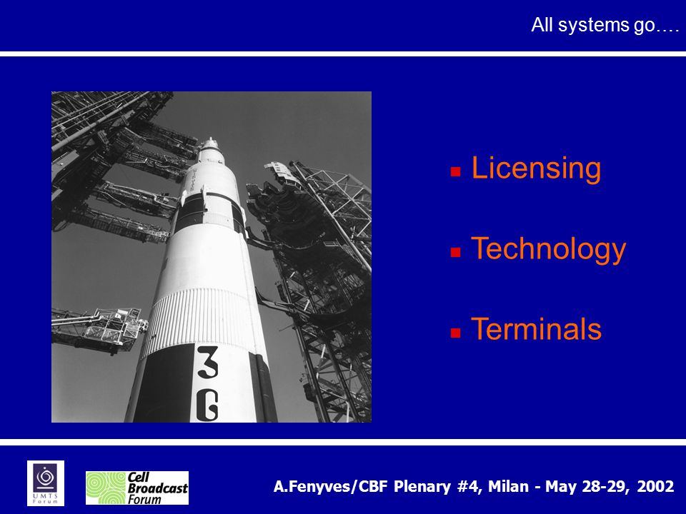 A.Fenyves/CBF Plenary #4, Milan - May 28-29, 2002 All systems go…. Licensing Technology Terminals